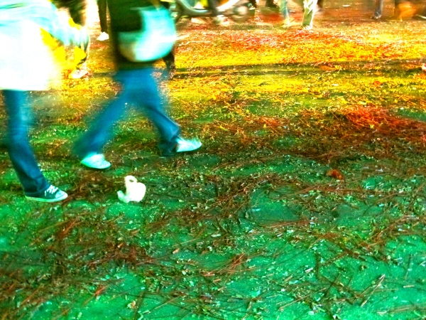 Scattered bottle rocket remnants litter the streets at the end of the night.