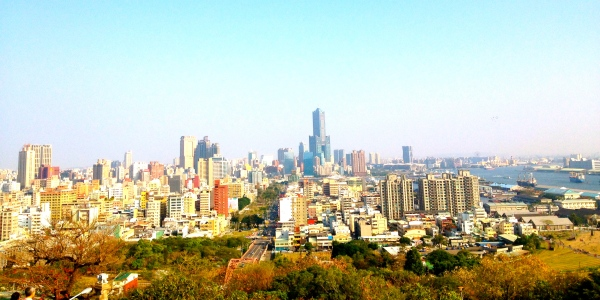 Birdseye view of Kaohsiung, on a somewhat clear day.