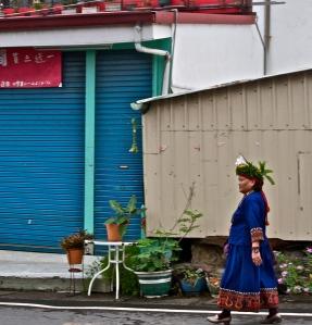 Woman on her way to a wedding in Sandimen