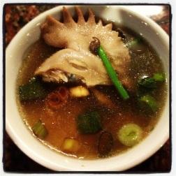 Chicken head soup.