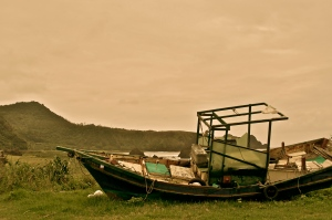 Abandoned boat on Green Island.