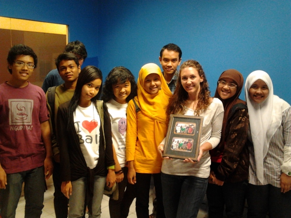 Laura with her students in Surabaya, Indonesia.